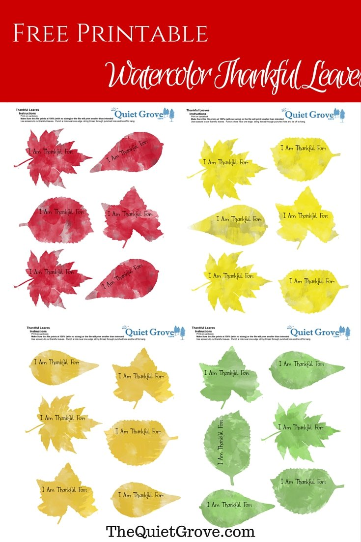 picture relating to Thankful Leaves Printable called Watercolor Grateful Leaves Cost-free Printable ⋆ The Relaxed Grove