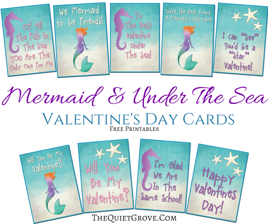 Free Printable Valentine S Quote: Free Mermaid Themed Valentine Card Printables ⋆ The Quiet