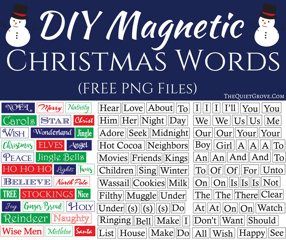 Christmas Words.Diy Magnetic Christmas Words The Quiet Grove