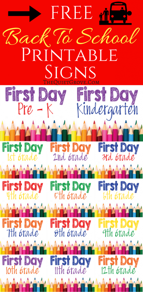 graphic regarding First Day of Pre K Sign Printable identified as 5 Free of charge Again towards College or university Printable Indicator Sets ⋆ The Tranquil Grove