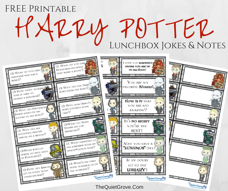 photo about Lunch Box Jokes Printable named Harry Potter Printable Lunchbox Jokes and Notes for Little ones