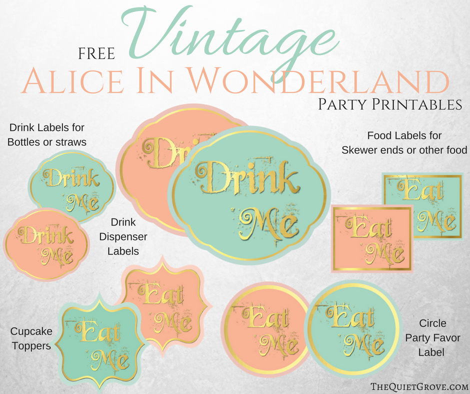 free vintage alice in wonderland party printables the quiet grove