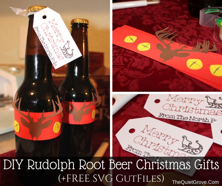 Beer Christmas Gifts.Diy Rudolf Root Beer Christmas Gift Free Svg Cut Files