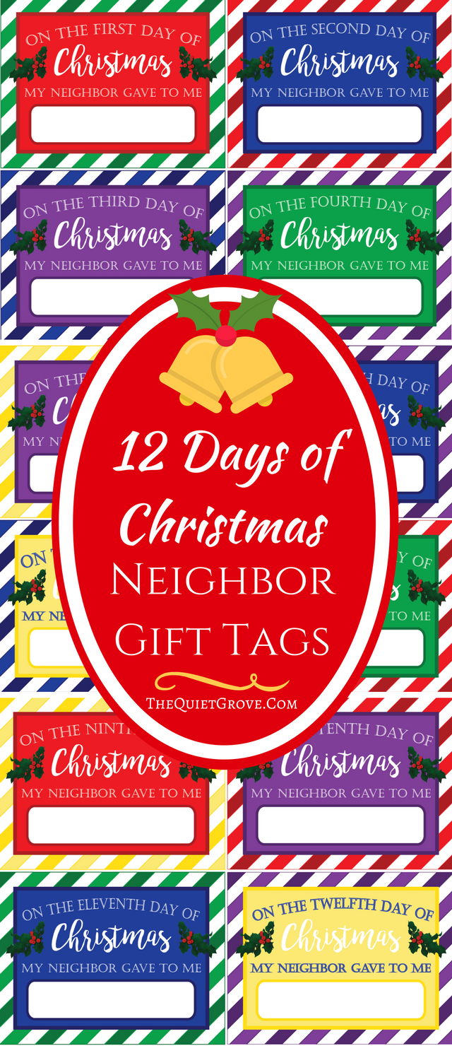 picture regarding 12 Days of Christmas Printable Tags titled 12 Times Of Xmas Neighbor Present Tags(Absolutely free Printables