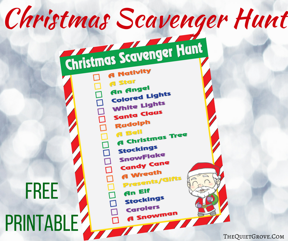 Christmas Scavenger Hunt.Free Printable Christmas Scavenger Hunt The Quiet Grove