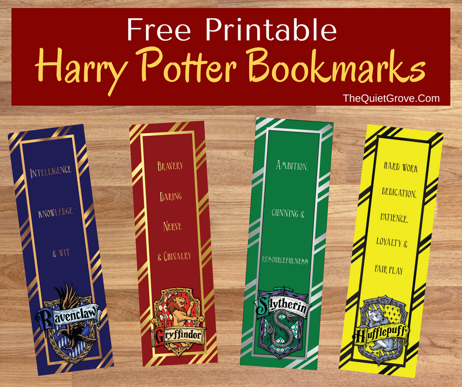 FREE Harry Potter Printable Bookmarks ⋆ The Quiet Grove