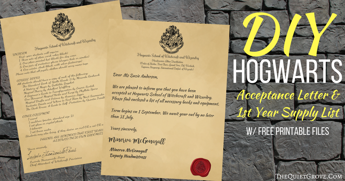 It is a picture of Decisive Free Printable Hogwarts Acceptance Letter