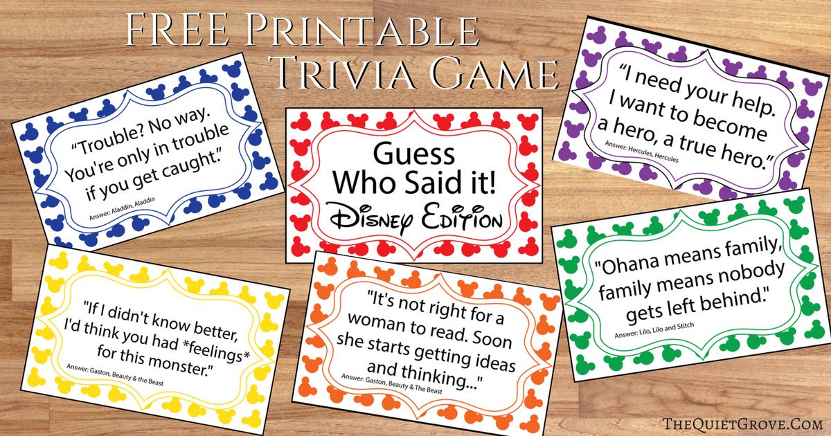 Free Printable Guess Who Said It Disney Edition ⋆ The