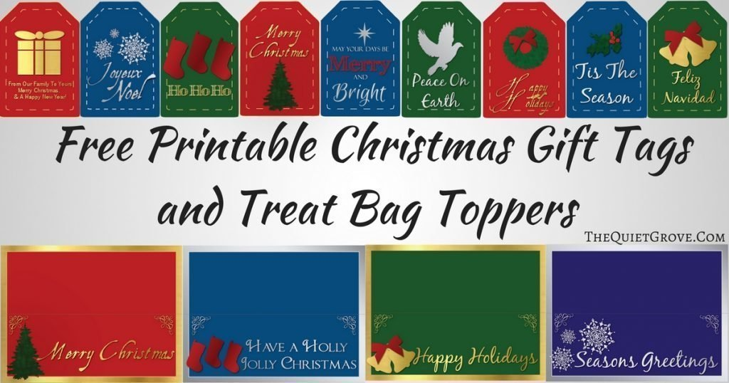 picture relating to Christmas Bag Toppers Free Printable called Free of charge Printable Xmas Present Tags and Address Bag Toppers