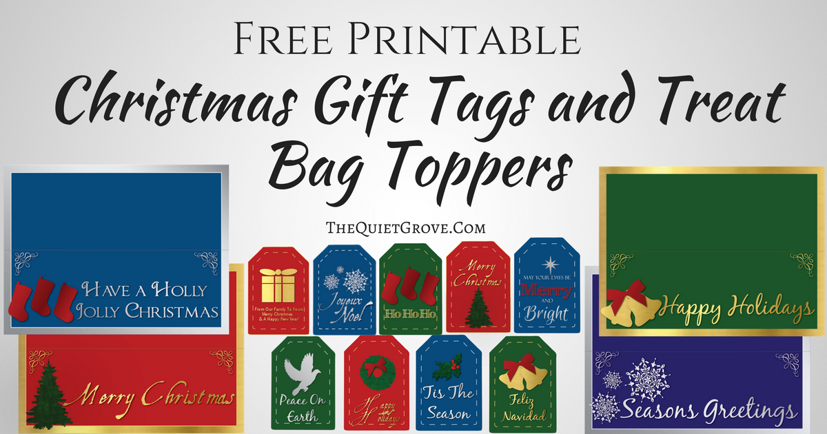 picture regarding Christmas Bag Toppers Free Printable named Free of charge Printable Xmas Reward Tags and Take care of Bag Toppers