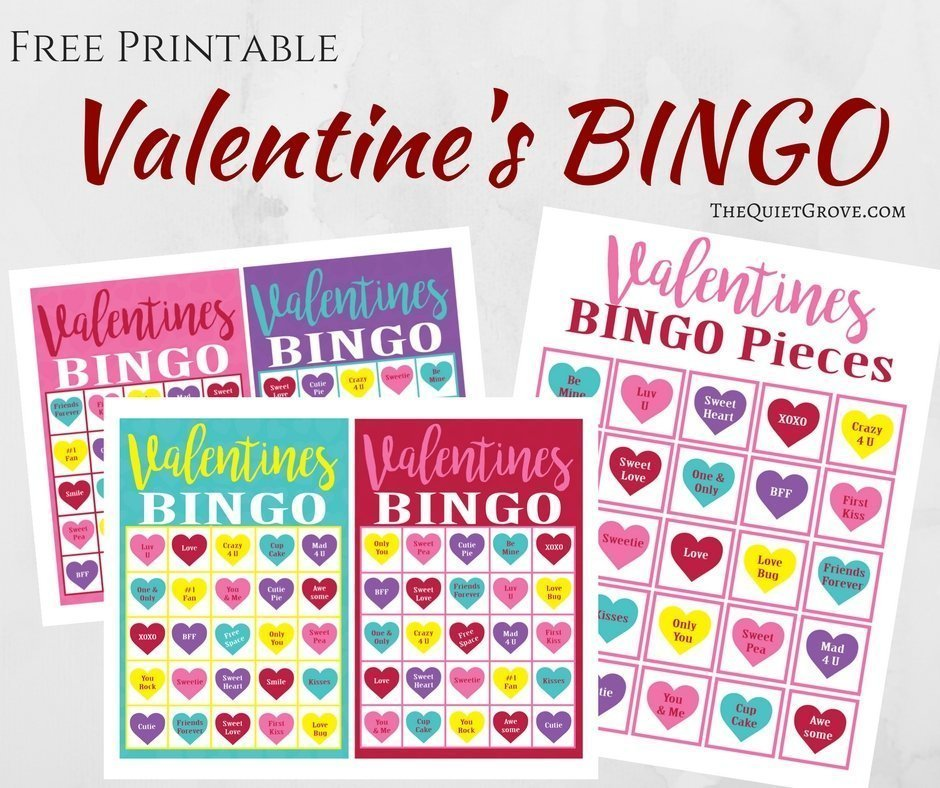 image about Valentine Bingo Printable named Absolutely free Printable Valentines Working day Bingo Recreation ⋆ The Serene Grove