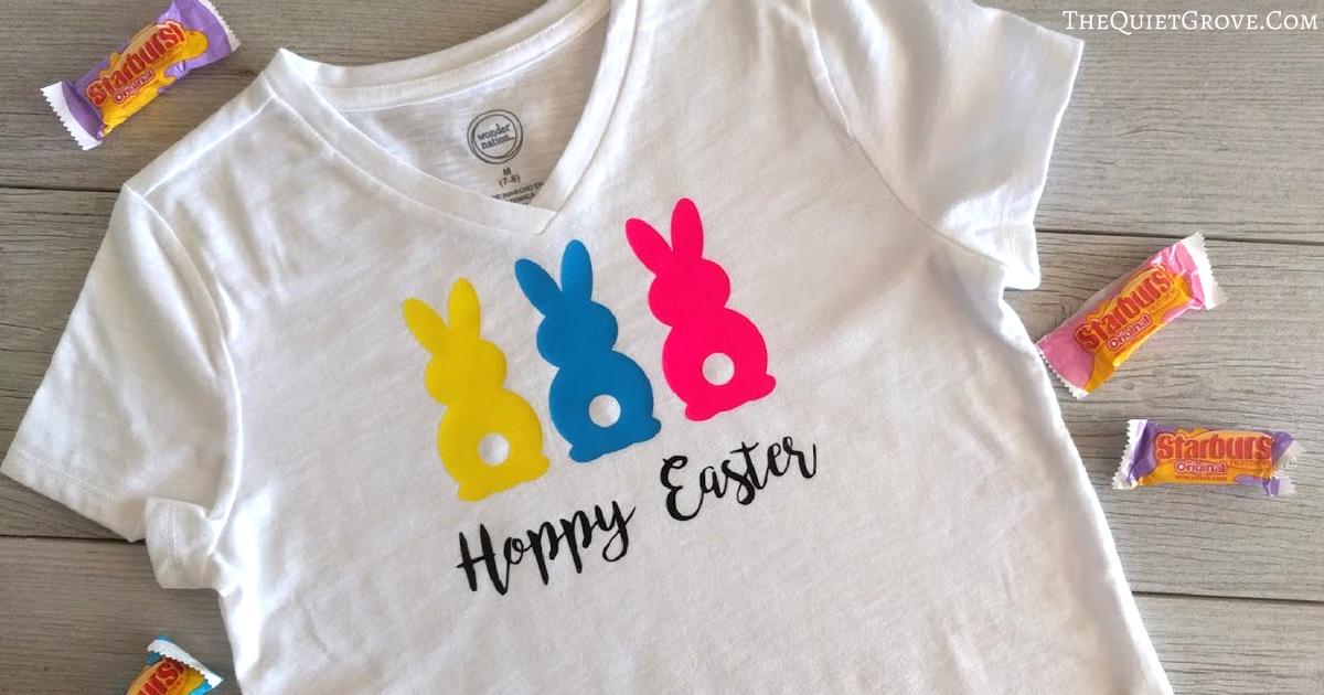 Diy Hoppy Easter Bunny Butt Shirt Made With Cricut Iron On
