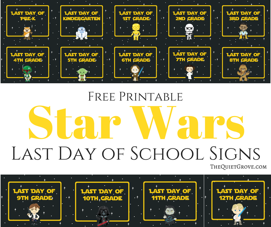 graphic about Printable Quiet Signs called Totally free Printable Star Wars Past Working day of Faculty Indicators ⋆ The