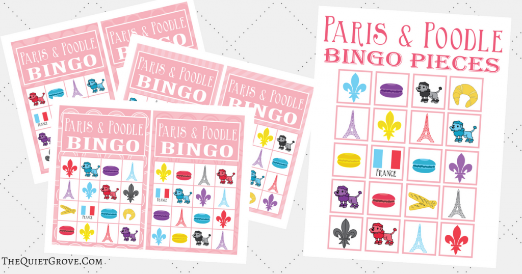 graphic about Game Pieces Printable identify Absolutely free Printable Paris Poodle Themed BINGO ⋆ The Relaxed Grove