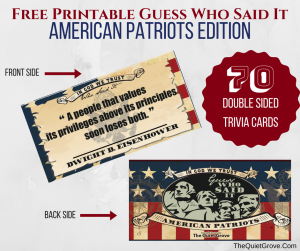 image regarding 4th of July Trivia Printable named 4th of July Printables ⋆ The Calm Grove