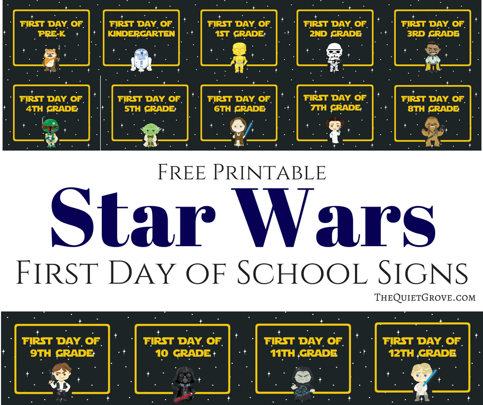 image regarding First Day of 5th Grade Printable referred to as Totally free Printable Star Wars Initially Working day of Faculty Symptoms ⋆ The