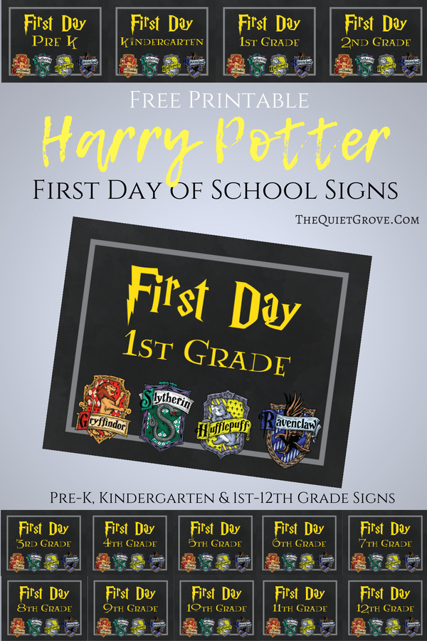 picture regarding First Day of 3rd Grade Sign Printable named Totally free Printable Harry Potter Themed 1st Working day of Higher education Symptoms