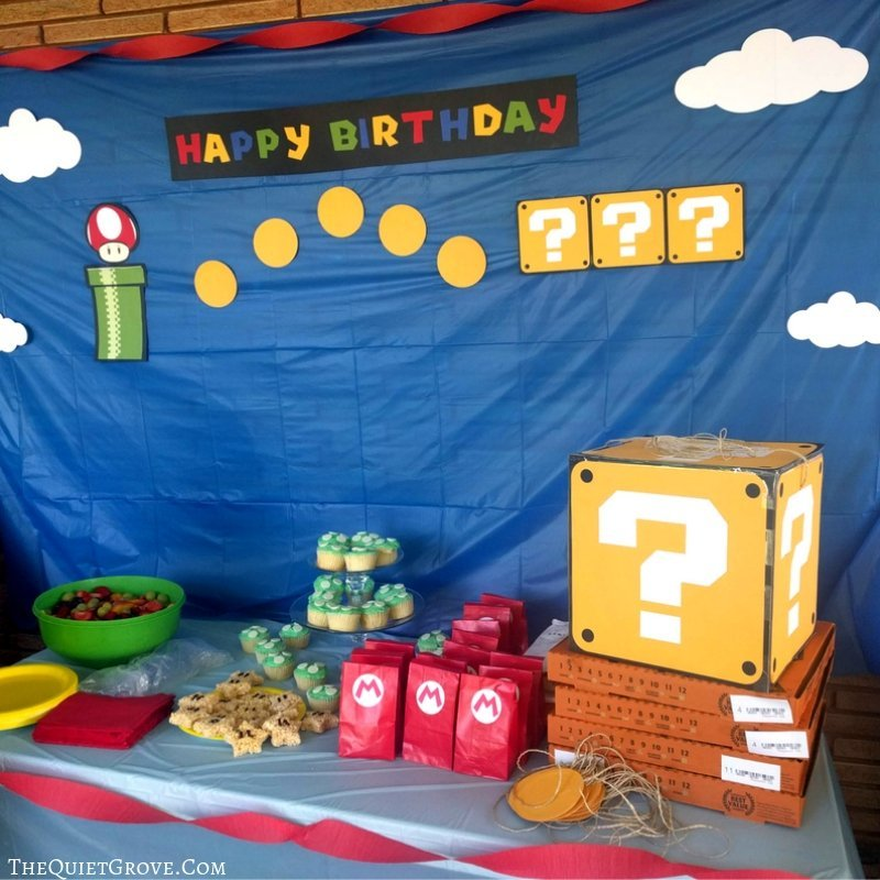 Diy Super Mario Birthday Party With Free Svg Cut Files The Quiet Grove
