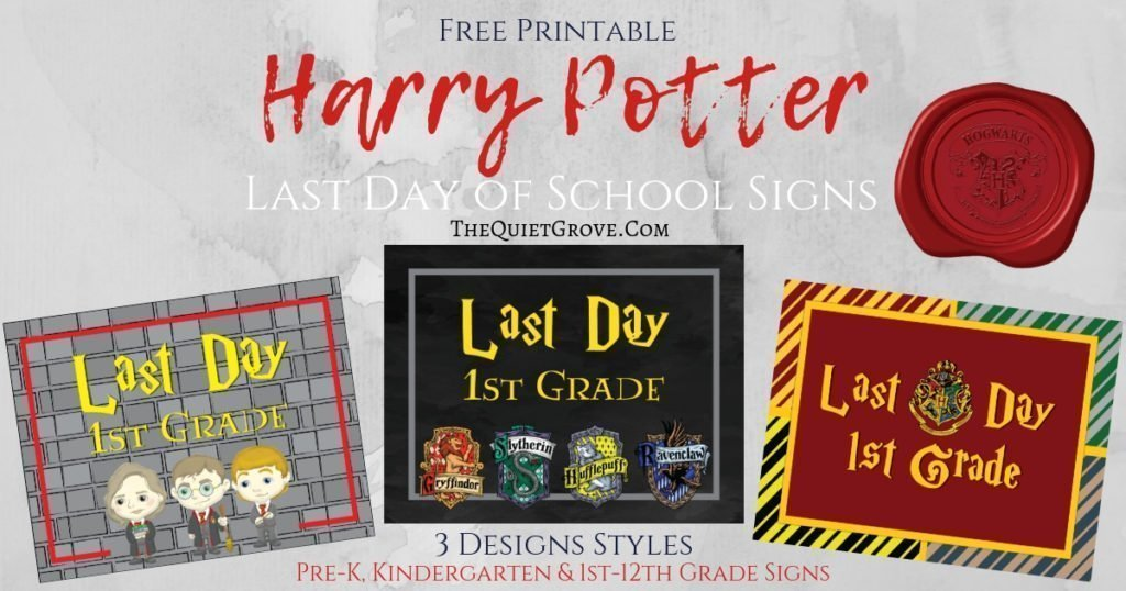 graphic regarding Printable Signage named Totally free Harry Potter Very last Working day of University Printable Signs or symptoms ⋆ The