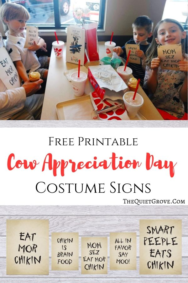 Cow Appreciation Day Costume Signs ⋆ The Quiet Grove