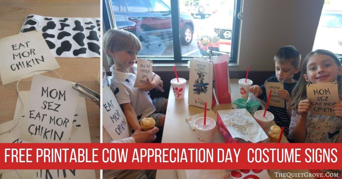 Free Printable Cow Appreciation Day Costume Signs ⋆ The Quiet Grove