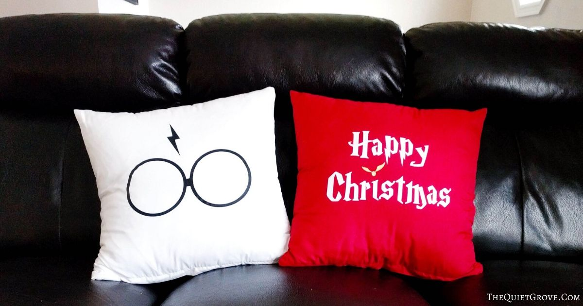 Diy Double Sided Harry Potter Christmas Throw Pillows With Free Svg Cut Files The Quiet Grove