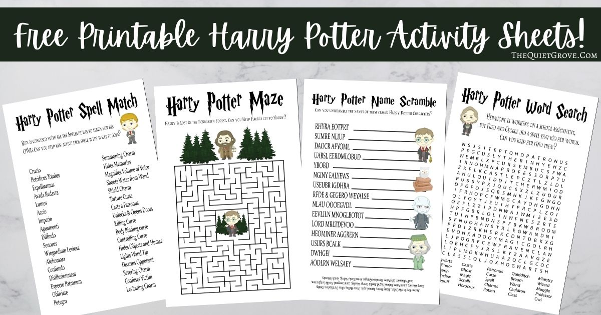 Free Printable Harry Potter Activity Sheets ⋆ The Quiet Grove